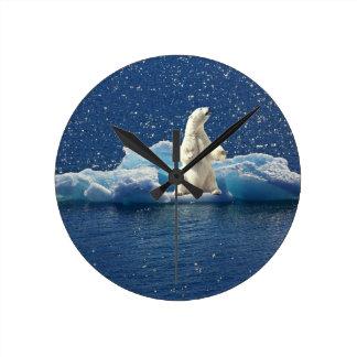 Reloj Redondo Mediano Añada el LEMA para ahorrar el hielo ártico del