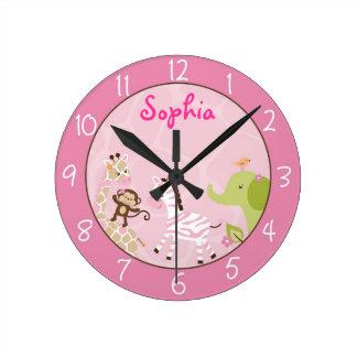 Reloj Redondo Mediano Animal rosado de la selva