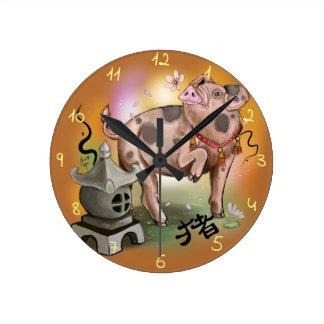 Reloj Redondo Mediano Año chino del zodiaco del cerdo