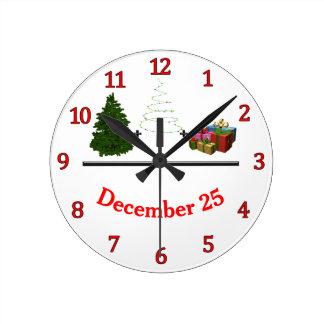 Reloj Redondo Mediano Árbol + Luces + Regalos = 25 de diciembre