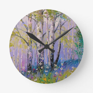 Reloj Redondo Mediano Arboleda del abedul