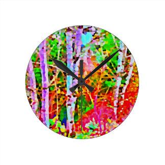 Reloj Redondo Mediano Árboles de abedul en primavera