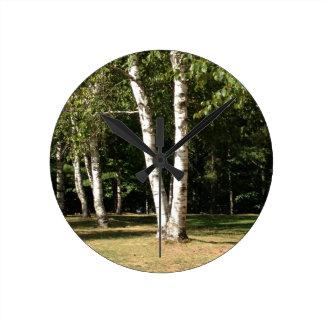 Reloj Redondo Mediano árboles de abedul gemelos