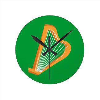 Reloj Redondo Mediano Arpa del irlandés de Irische Harfe