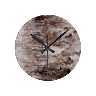 Reloj Redondo Mediano arte blanco escamoso de la corteza