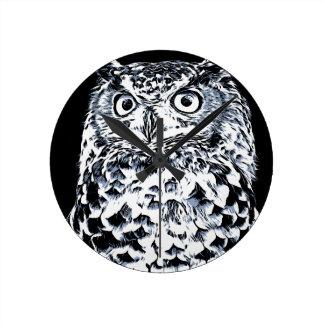 Reloj Redondo Mediano Arte grande del búho del oído