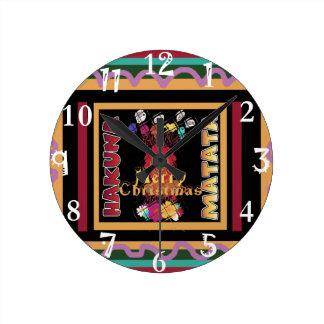 Reloj Redondo Mediano Arte hermoso de Hakuna Matata de las Felices