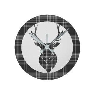 Reloj Redondo Mediano Asta principal escocesa gris rústica del tartán y