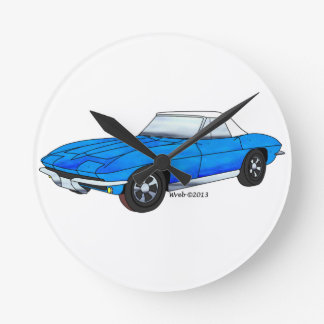 Reloj Redondo Mediano Automóvil descubierto de 66 Corvettes