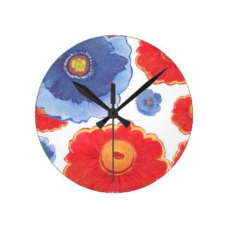 Reloj Redondo Mediano Azul y papel pintado de Red_Floral