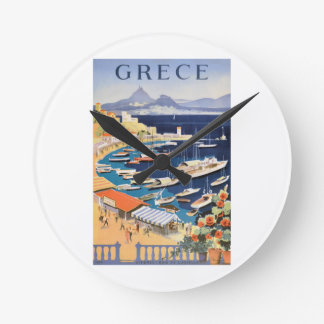 Reloj Redondo Mediano Bahía 1955 de Grecia Atenas del poster del viaje