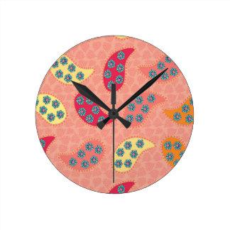 Reloj Redondo Mediano Baile Boho Paisley