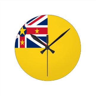 Reloj Redondo Mediano ¡Bajo costo! Bandera de Niue