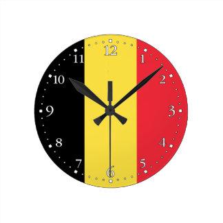 Reloj Redondo Mediano Bandera belga patriótica