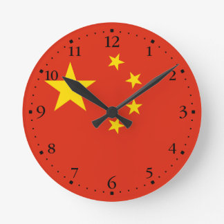 Reloj Redondo Mediano Bandera china patriótica