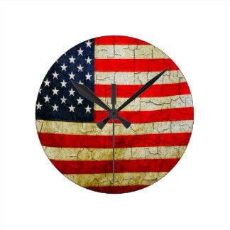 Reloj Redondo Mediano Bandera de América del Grunge