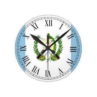 Reloj Redondo Mediano Bandera de Guatemala
