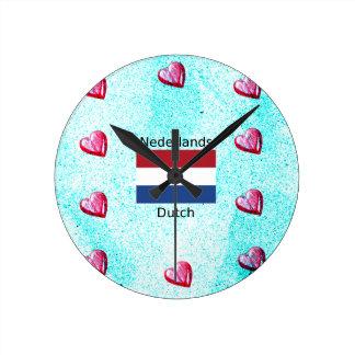 Reloj Redondo Mediano Bandera holandesa y diseño holandés de la lengua