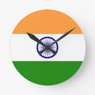 """Reloj Redondo Mediano Bandera india """"Tiranga """" del buen color"""