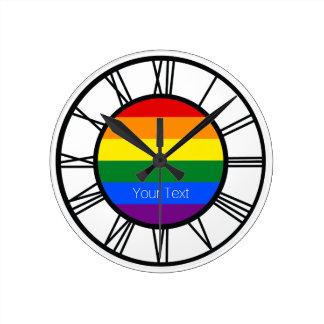 Reloj Redondo Mediano Bandera LGBT del arco iris del orgullo gay