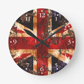 Reloj Redondo Mediano Bandera patriótica aherrumbrada de Reino Unido