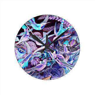 Reloj Redondo Mediano Bella arte del colibrí