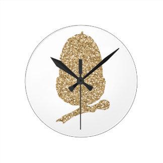 Reloj Redondo Mediano Bellota del brillo del oro