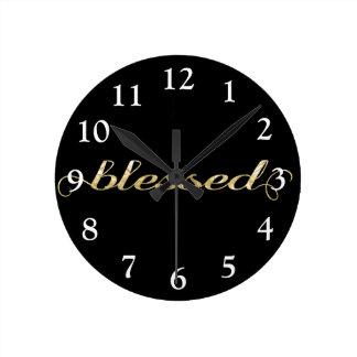 Reloj Redondo Mediano Bendecido, agradecido inspirado de la Hoja-Mirada