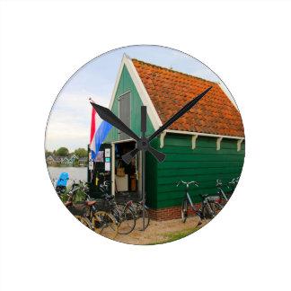 Reloj Redondo Mediano Bicicletas, pueblo holandés del molino de viento,
