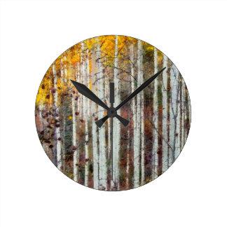 Reloj Redondo Mediano Bosque brumoso del abedul