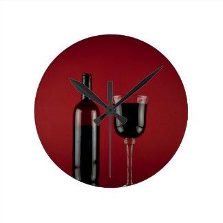 Reloj Redondo Mediano Botella de cristal del rojo de vino