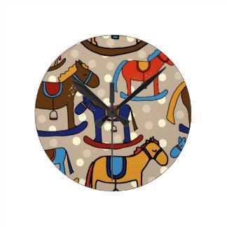 Reloj Redondo Mediano caballos mecedora