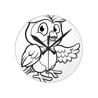 Reloj Redondo Mediano Carácter del búho del dibujo animado