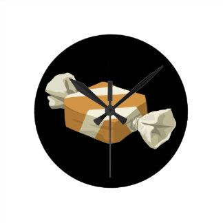 Reloj Redondo Mediano Caramelo del abedul de la comida de la
