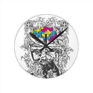 Reloj Redondo Mediano cerebros del color del vintage