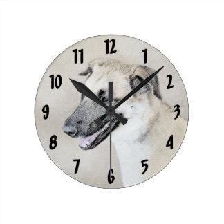 Reloj Redondo Mediano Chinook (oídos caídos) que pinta - arte original