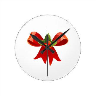 Reloj Redondo Mediano Cinta roja del navidad