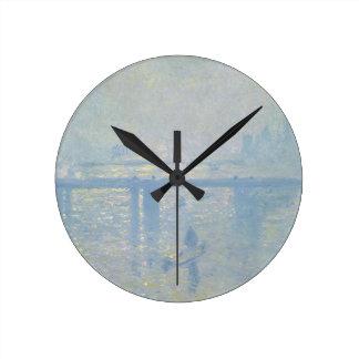 Reloj Redondo Mediano Claude Monet - puente cruzado de Charing. Arte