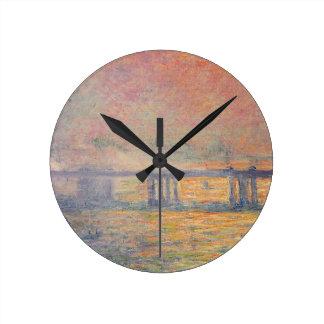 Reloj Redondo Mediano Claude Monet - Saint Louis del puente cruzado de