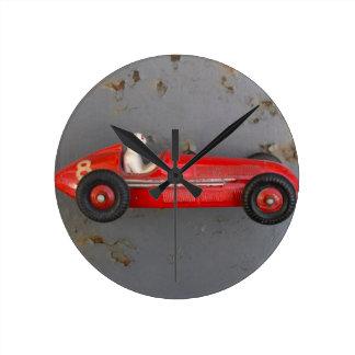 Reloj Redondo Mediano Coche rojo del juguete del vintage