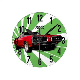 Reloj Redondo Mediano Coche rojo del músculo