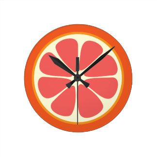 Reloj Redondo Mediano Cocina roja de rubíes de la rebanada de los agrios