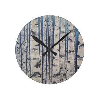 Reloj Redondo Mediano Código Morse de los árboles de abedul