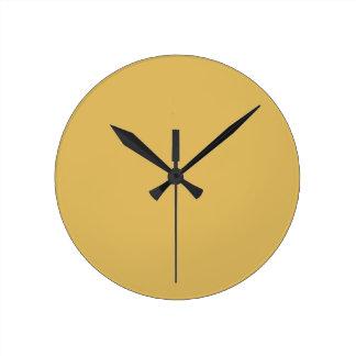 Reloj Redondo Mediano Color sólido del amarillo ligero de la mostaza