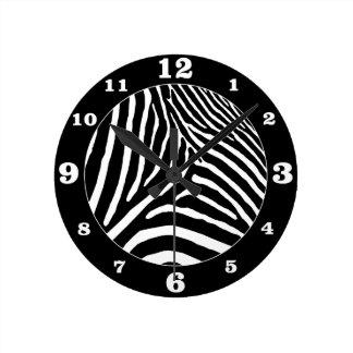 Reloj Redondo Mediano Coloree el negro bien escogido de la cebra