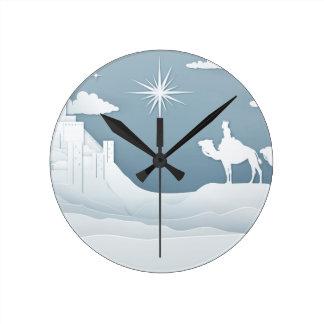 Reloj Redondo Mediano Concepto del navidad de la natividad de los