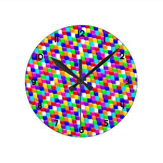 Reloj Redondo Mediano Cubos coloreados