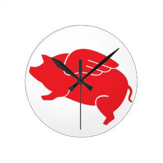 Reloj Redondo Mediano 🐷 del cerdo del vuelo