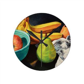 Reloj Redondo Mediano Del plátano de Apple todavía de la pera vida