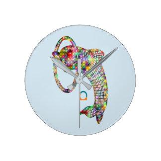 Reloj Redondo Mediano Delfín coloreado 3D